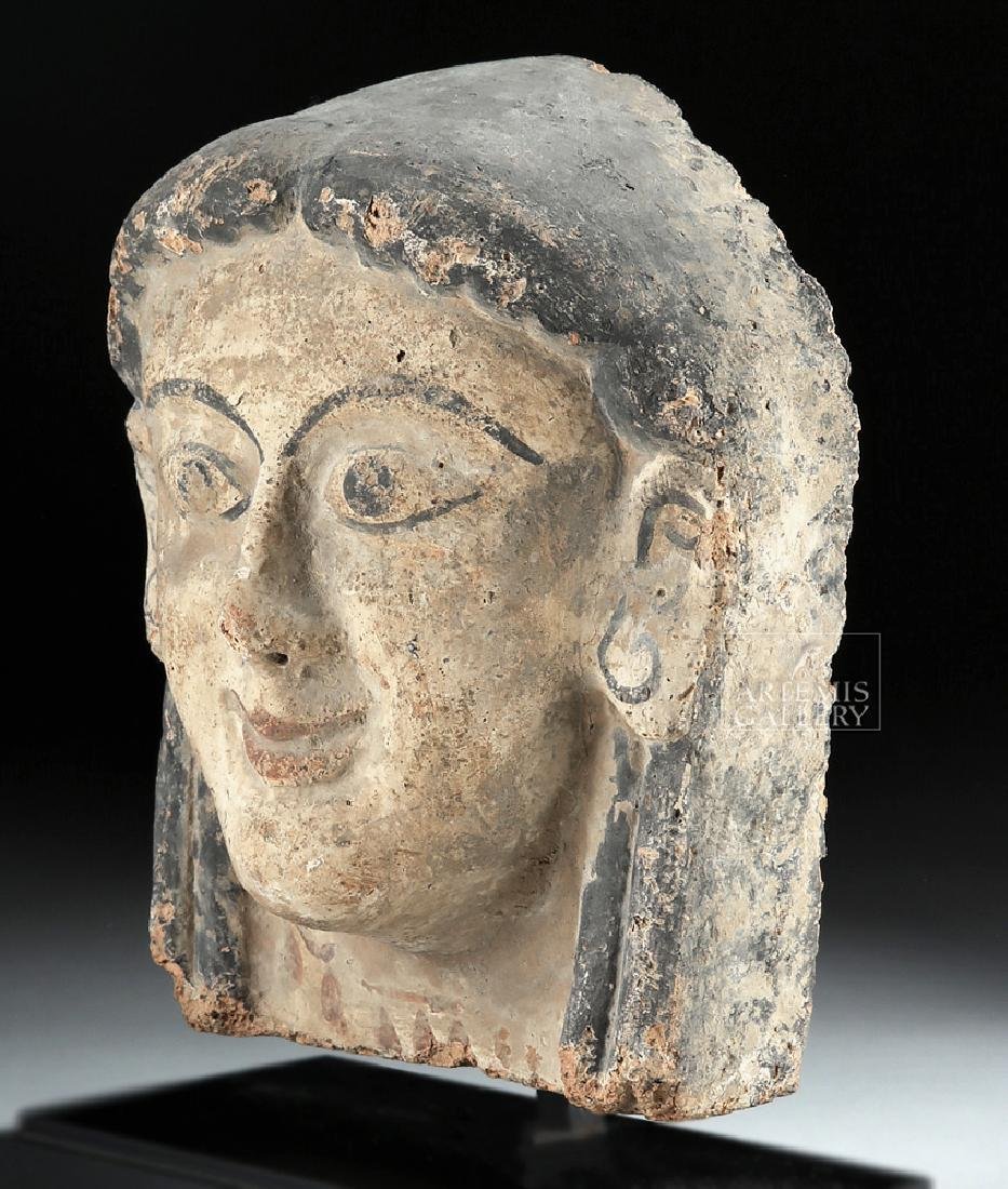 Etruscan Polychrome Terracotta Antefix of Woman - 3