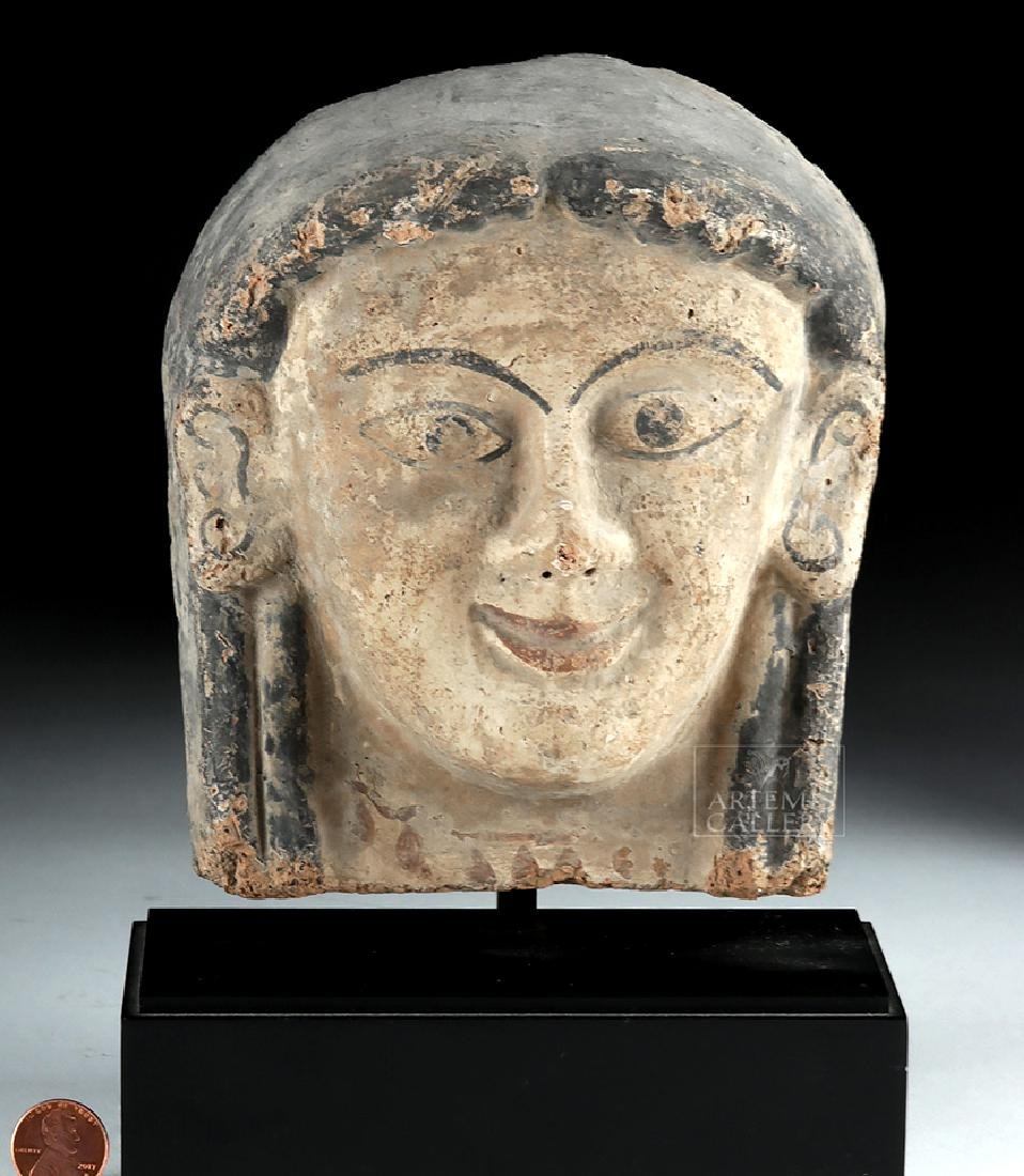 Etruscan Polychrome Terracotta Antefix of Woman - 6