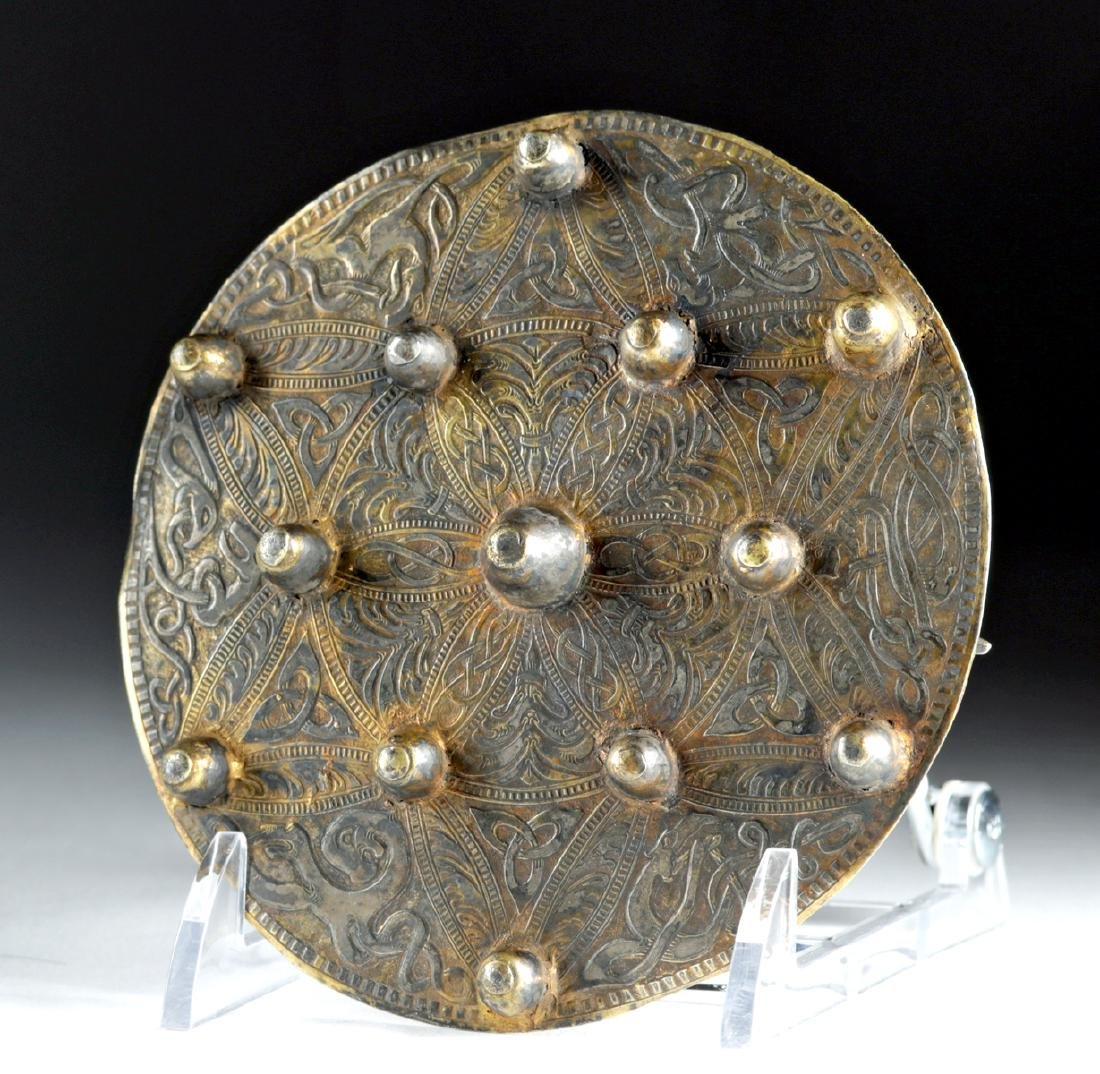 Impressive Viking Gilt Silver Brooch - 161.3 grams - 3