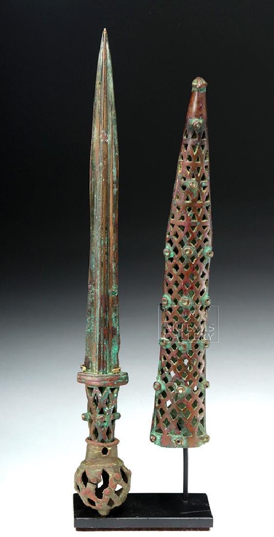 Very Rare Near Eastern Bronze Dagger & Sheath