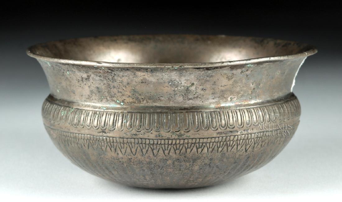 Fine Achaemenid Silver Bowl w/ Incised Details