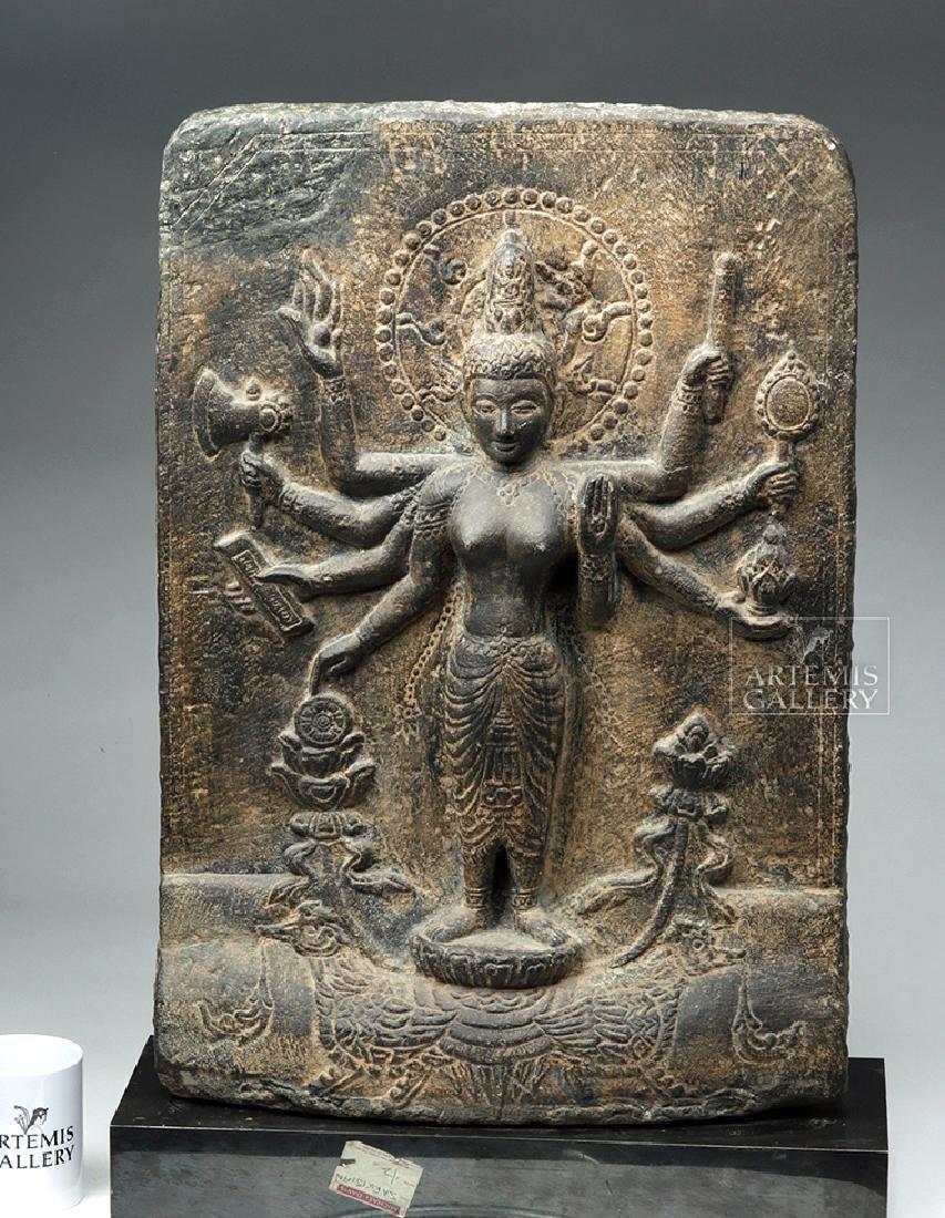 12th C. Indian Black Stone Stele - Parvati w/ Peahen - 3