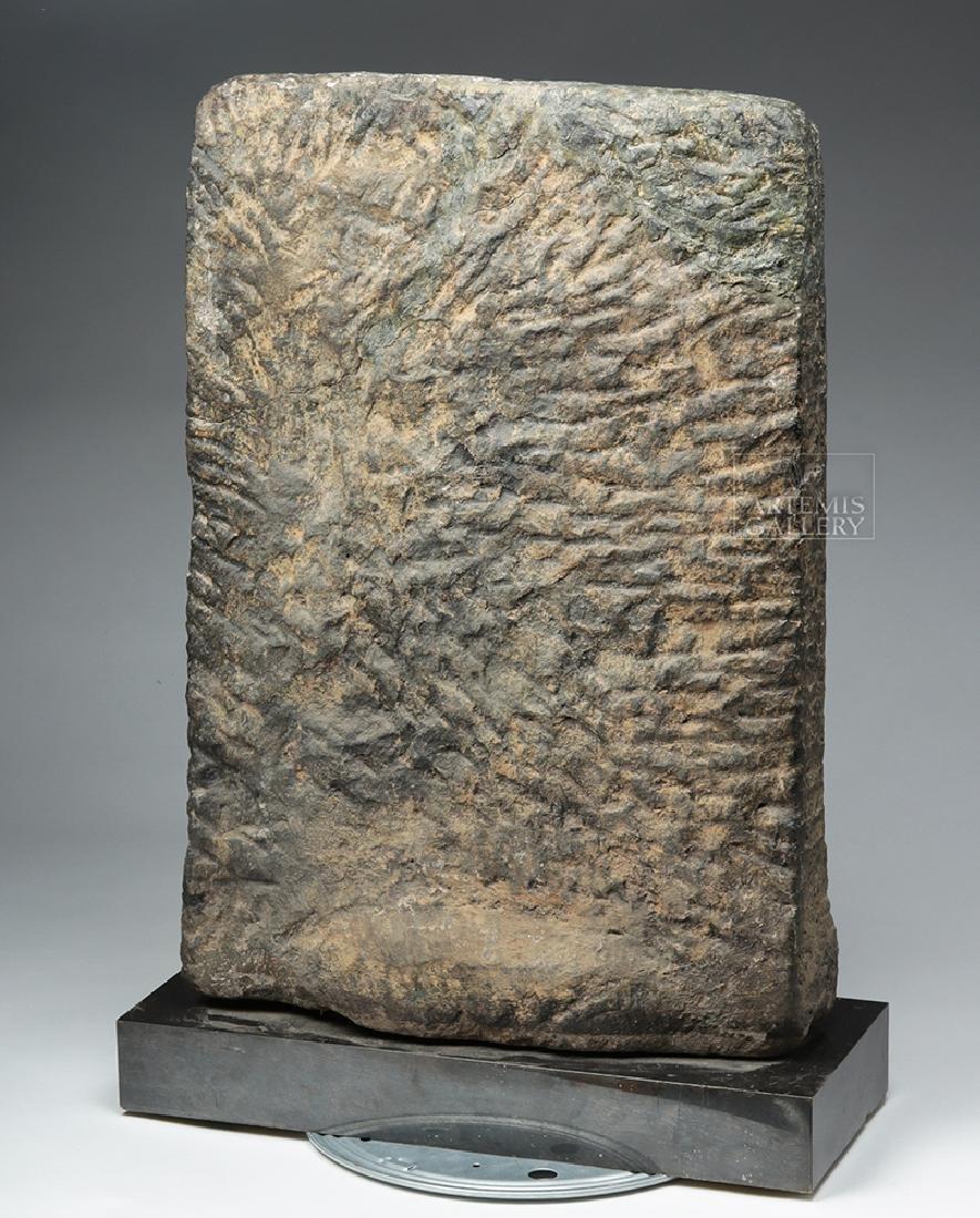 12th C. Indian Black Stone Stele - Parvati w/ Peahen - 5