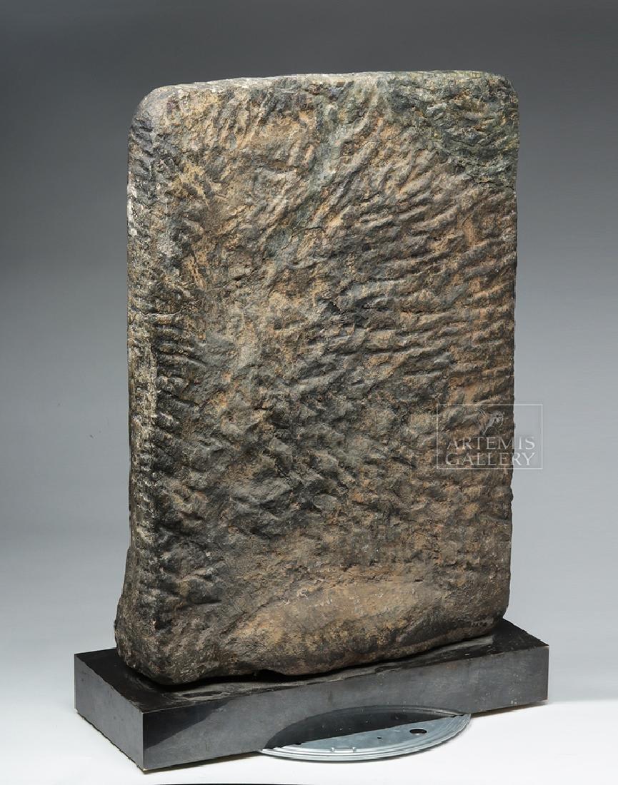 12th C. Indian Black Stone Stele - Parvati w/ Peahen - 6
