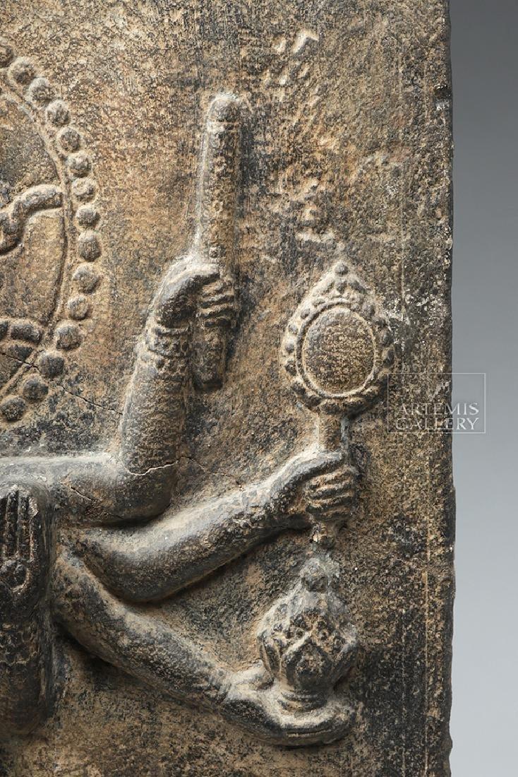12th C. Indian Black Stone Stele - Parvati w/ Peahen - 9