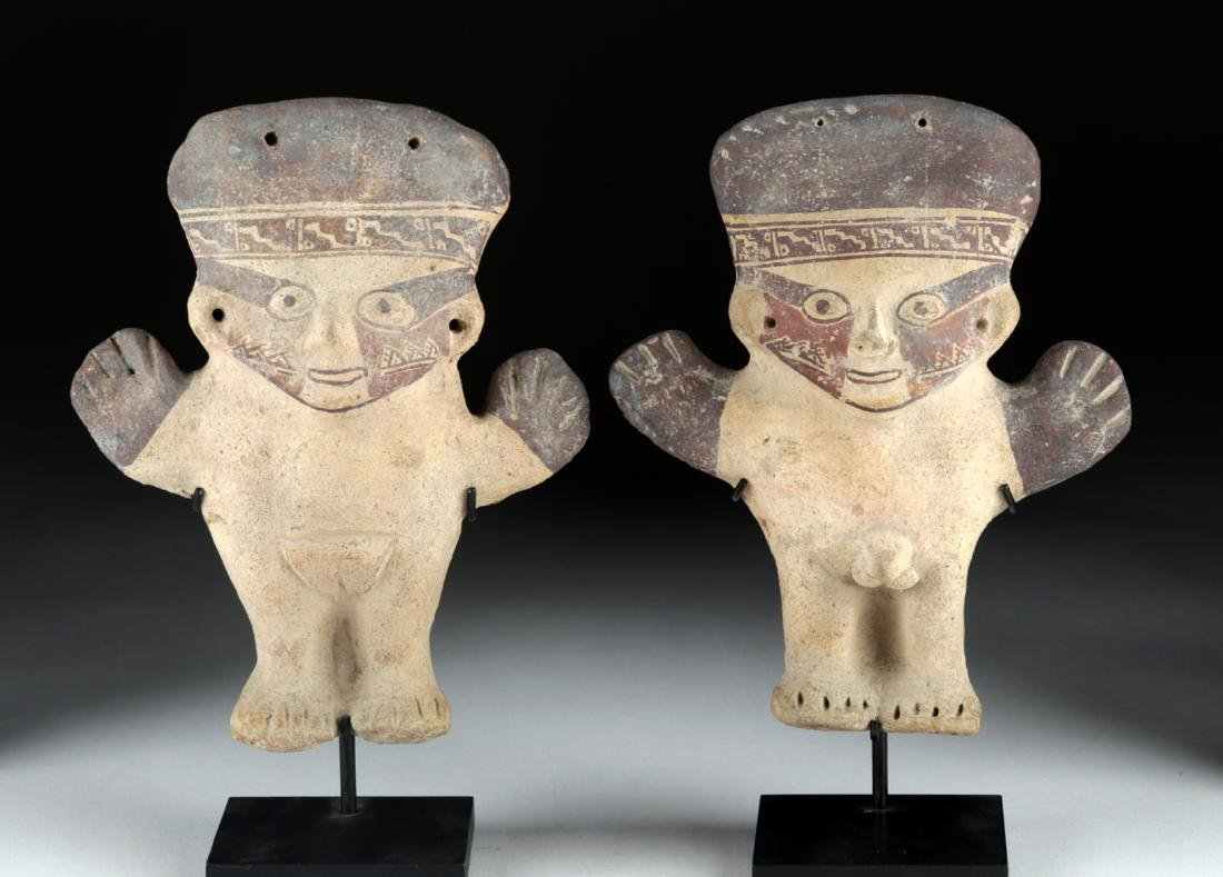 Matched Pair Chancay Terracotta Male & Female Figures