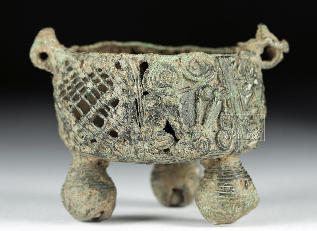 Mixtec Bronze Vessel w/ Deer Head & Bell Feet