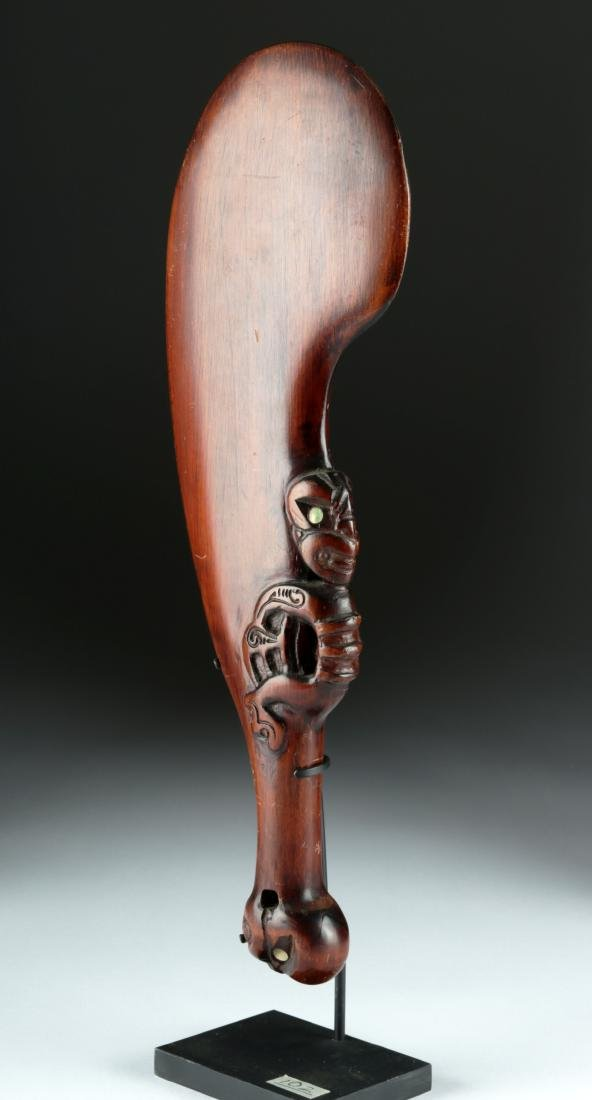 Early 20th C. Maori Wooden War Club with Shell Inlay