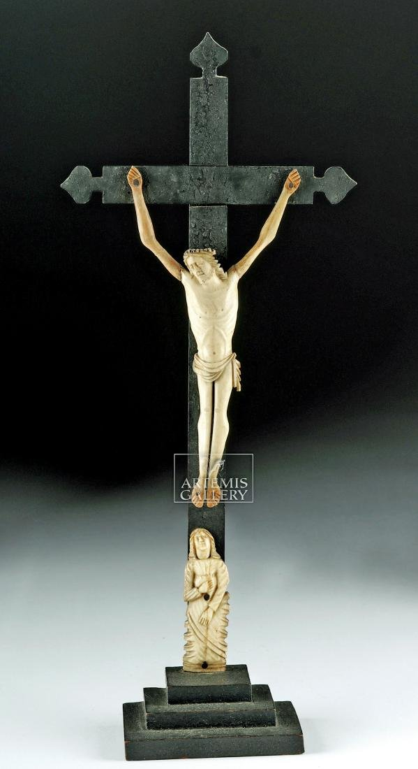 19th C. South American Bone Crucifix w/ Wood Cross