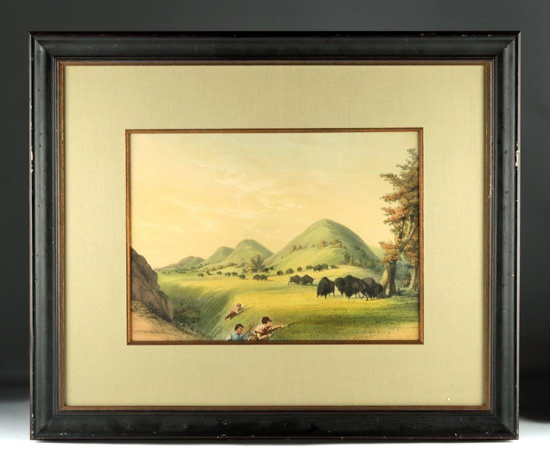 "George Catlin Lithograph ""Buffalo Hunt"" 1875"