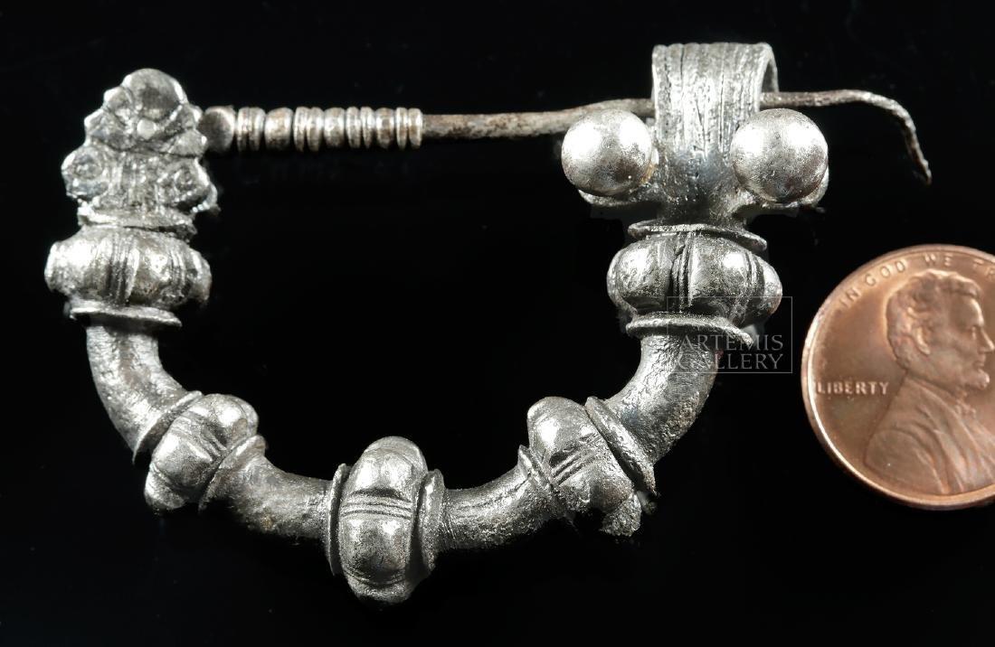 Rare Greek Silver Military Fibula - 37.9 g - 2