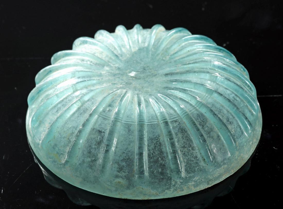 Roman Glass Pillar-Molded Bowl - Aqua Blue Color - 5