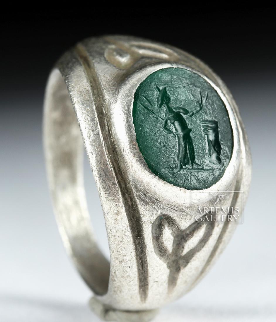 Roman Silver Ring w/ Jasper Intaglio - 9.1 g - 3