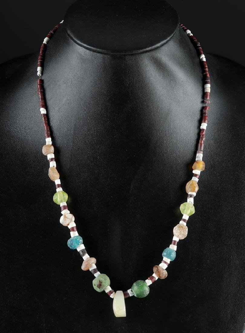 Necklace w/ Roman Glass, Stone, and Shell Beads