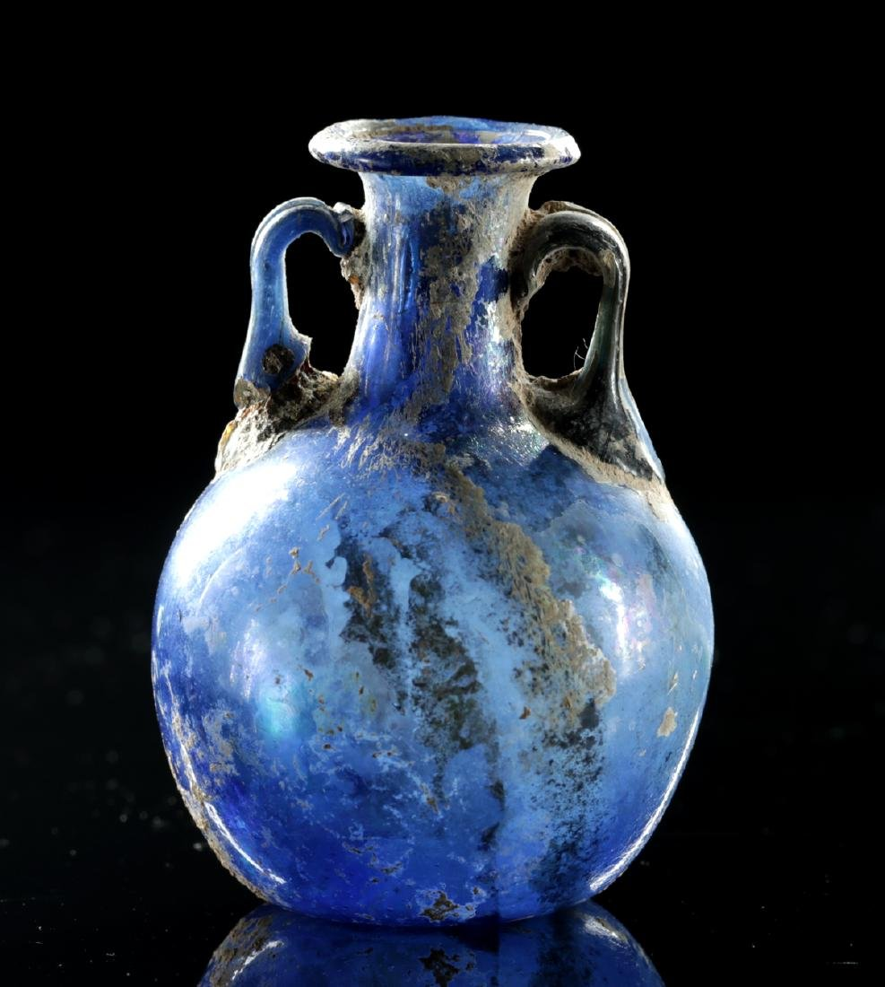 Beautiful Roman Glass Ampulla - Cobalt Blue