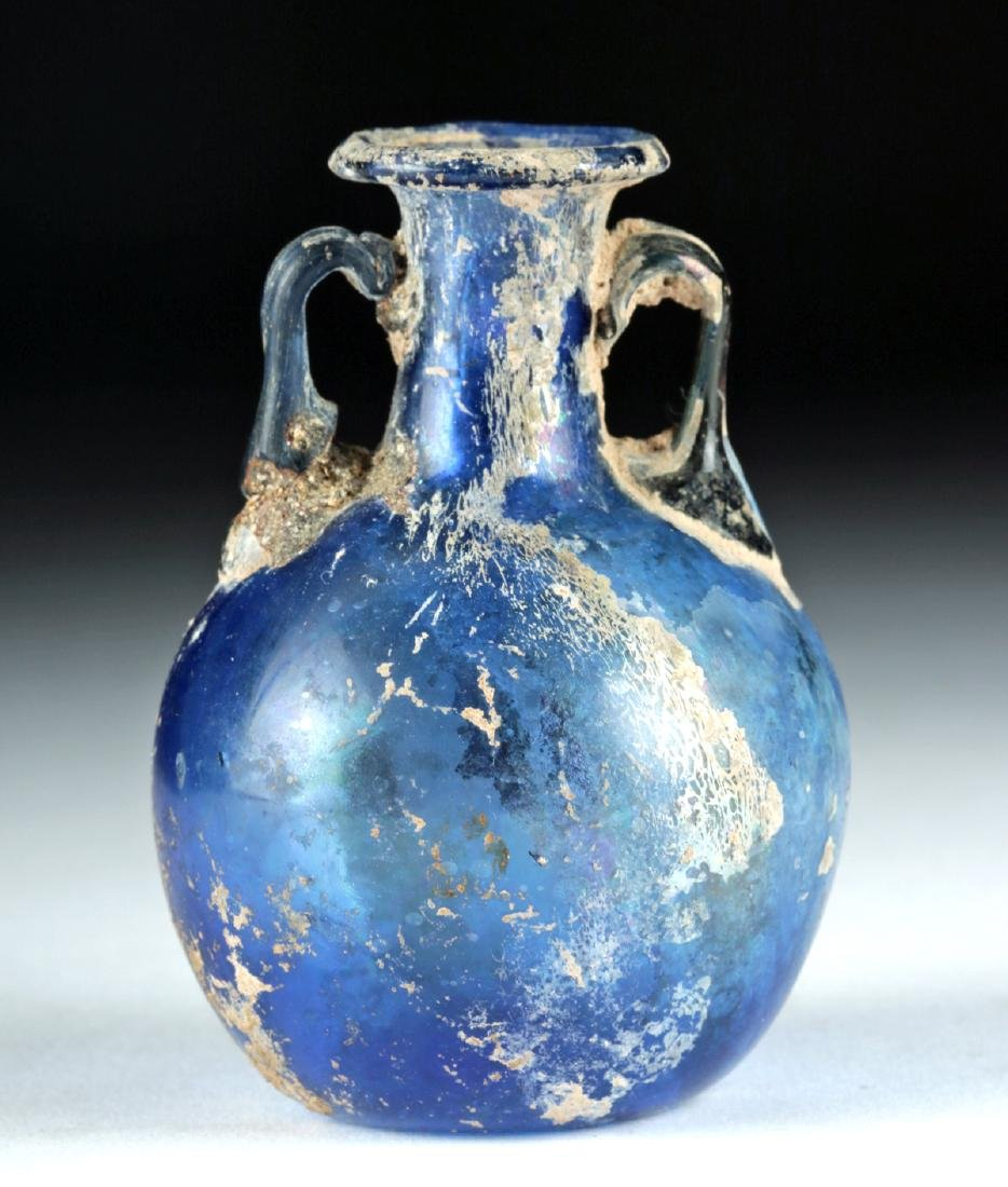 Beautiful Roman Glass Ampulla - Cobalt Blue - 2