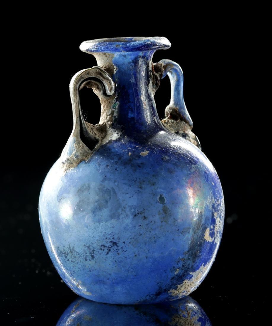 Beautiful Roman Glass Ampulla - Cobalt Blue - 3