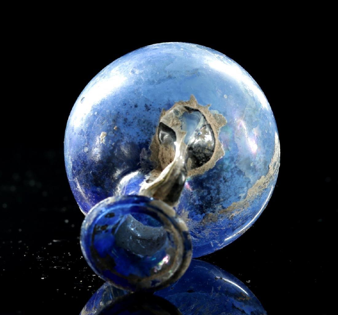 Beautiful Roman Glass Ampulla - Cobalt Blue - 6