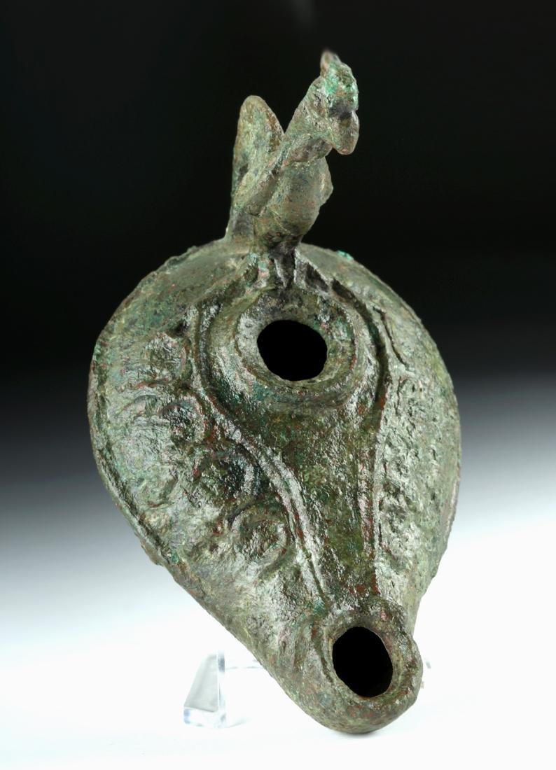 Roman Bronze Oil Lamp w/ Rooster Handle