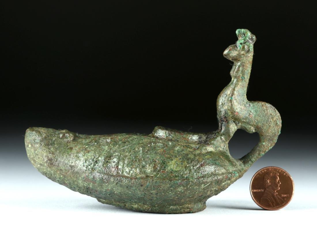 Roman Bronze Oil Lamp w/ Rooster Handle - 5