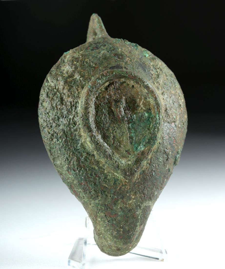 Roman Bronze Oil Lamp w/ Rooster Handle - 6