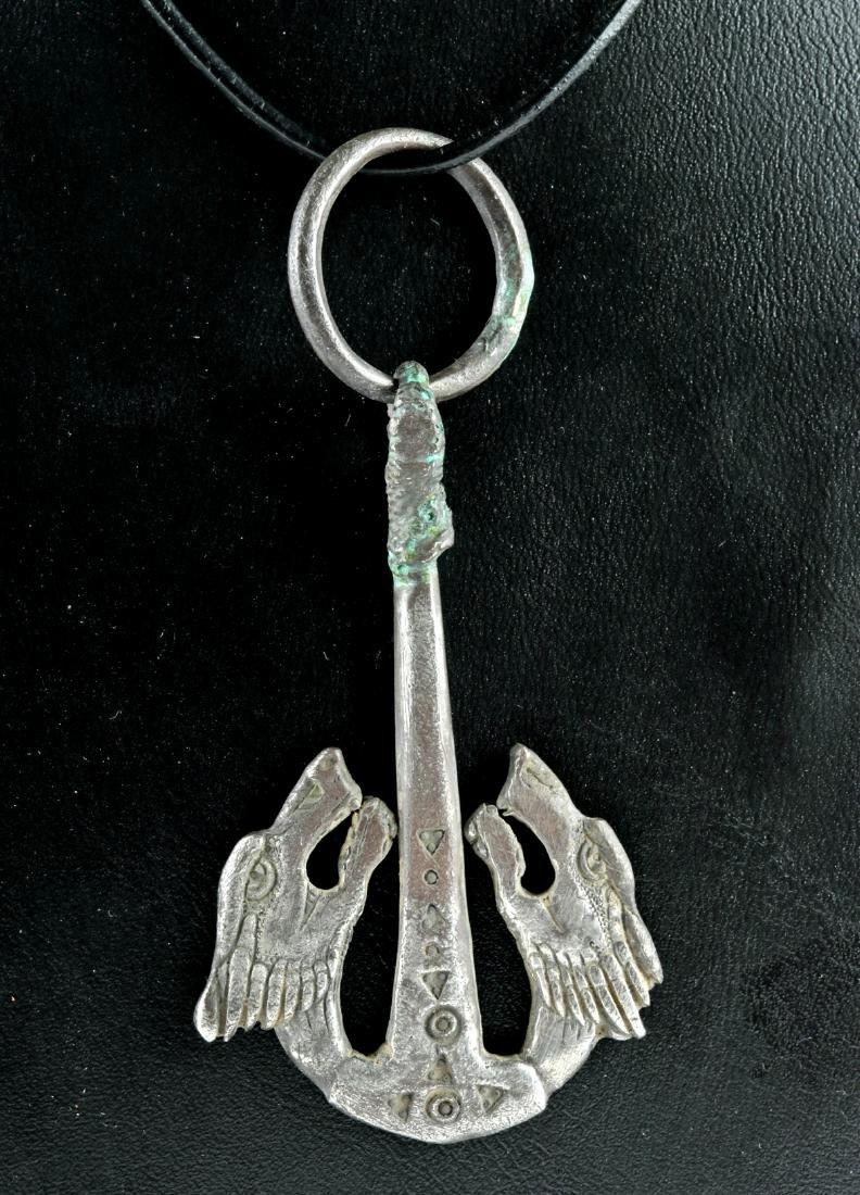 Viking Silver Hammer Pendant - Skoll and Hati