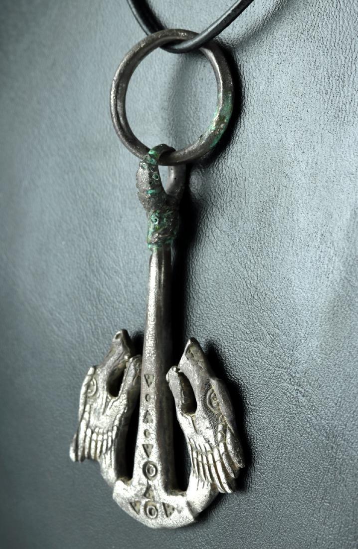 Viking Silver Hammer Pendant - Skoll and Hati - 2