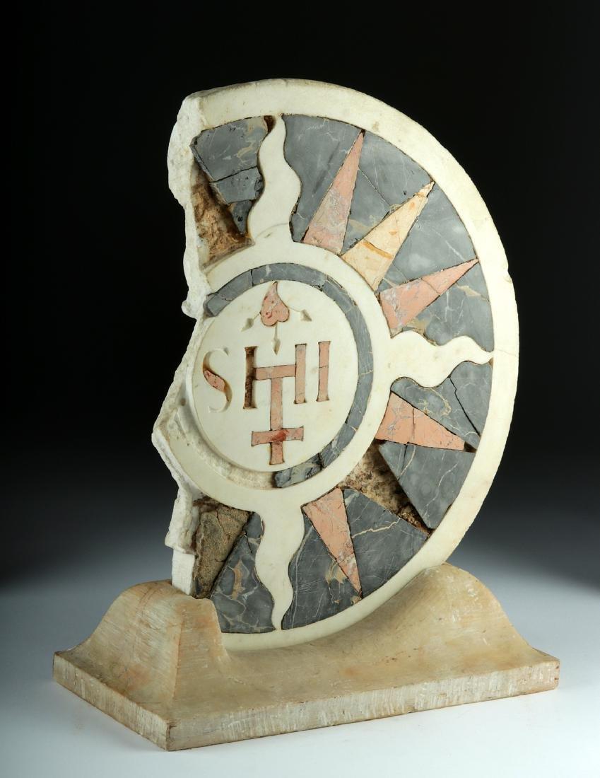 15th C. Italian Church Floor Tile Mosaic w/ Warrior - 2
