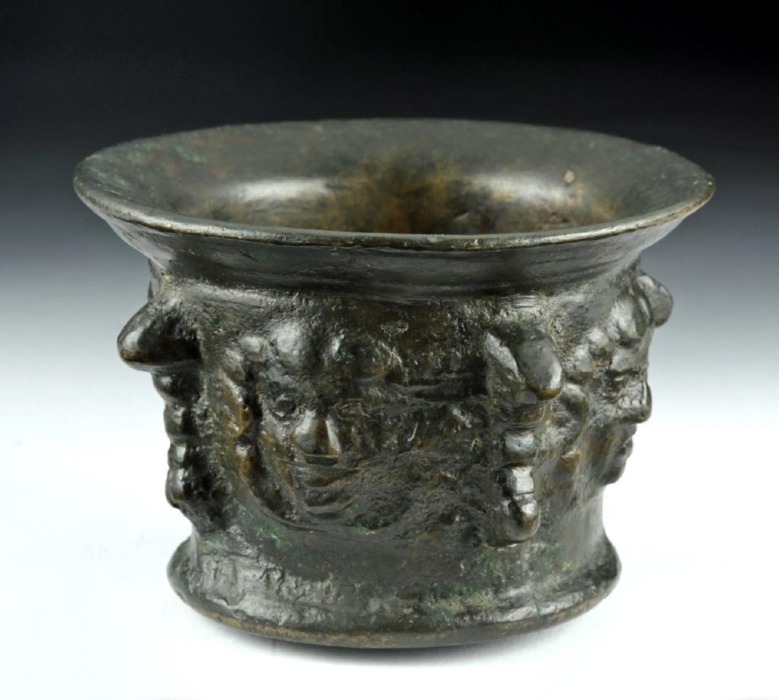 16th C. Florentine Bronze Pharmacy Mortar w/ Faces