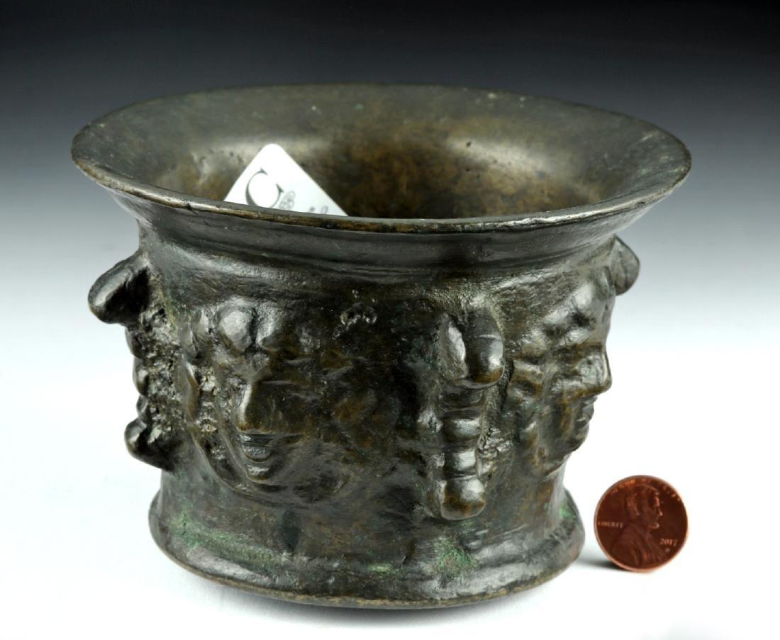 16th C. Florentine Bronze Pharmacy Mortar w/ Faces - 3