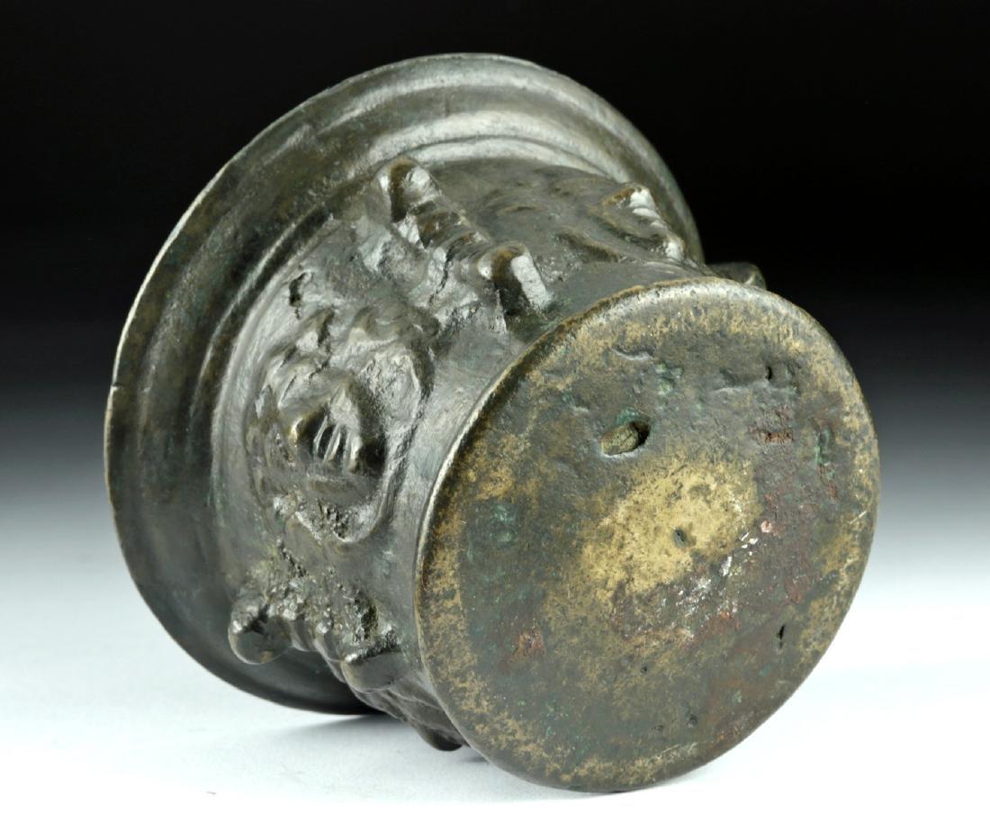 16th C. Florentine Bronze Pharmacy Mortar w/ Faces - 6