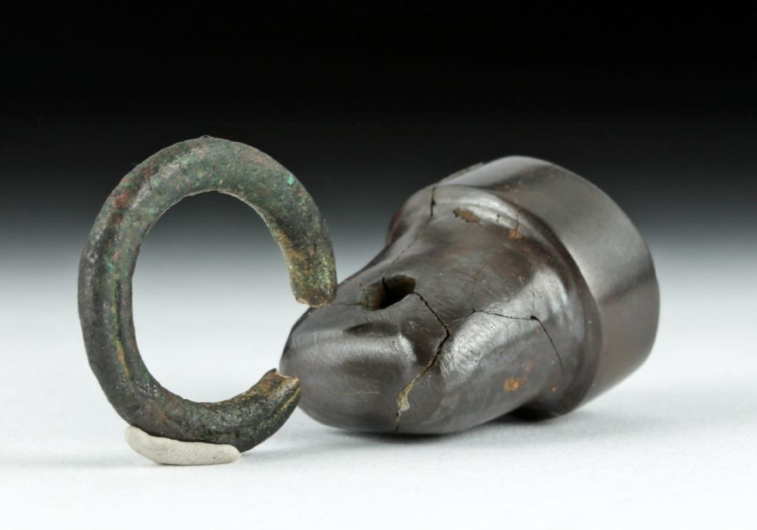 Judean Hematite Seal w/ Original Bronze Loop Handle - 3