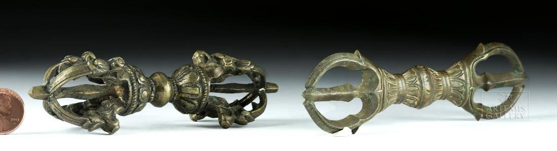Pair of 19th C. Tibetan Brass Dorjes - 2