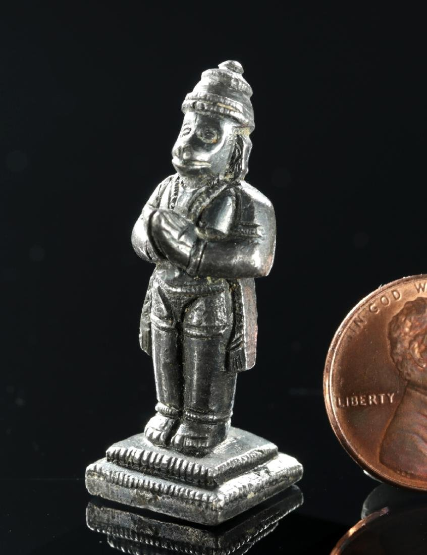 Rare Miniature 19th C. Indian Silver Amulet - Hanuman