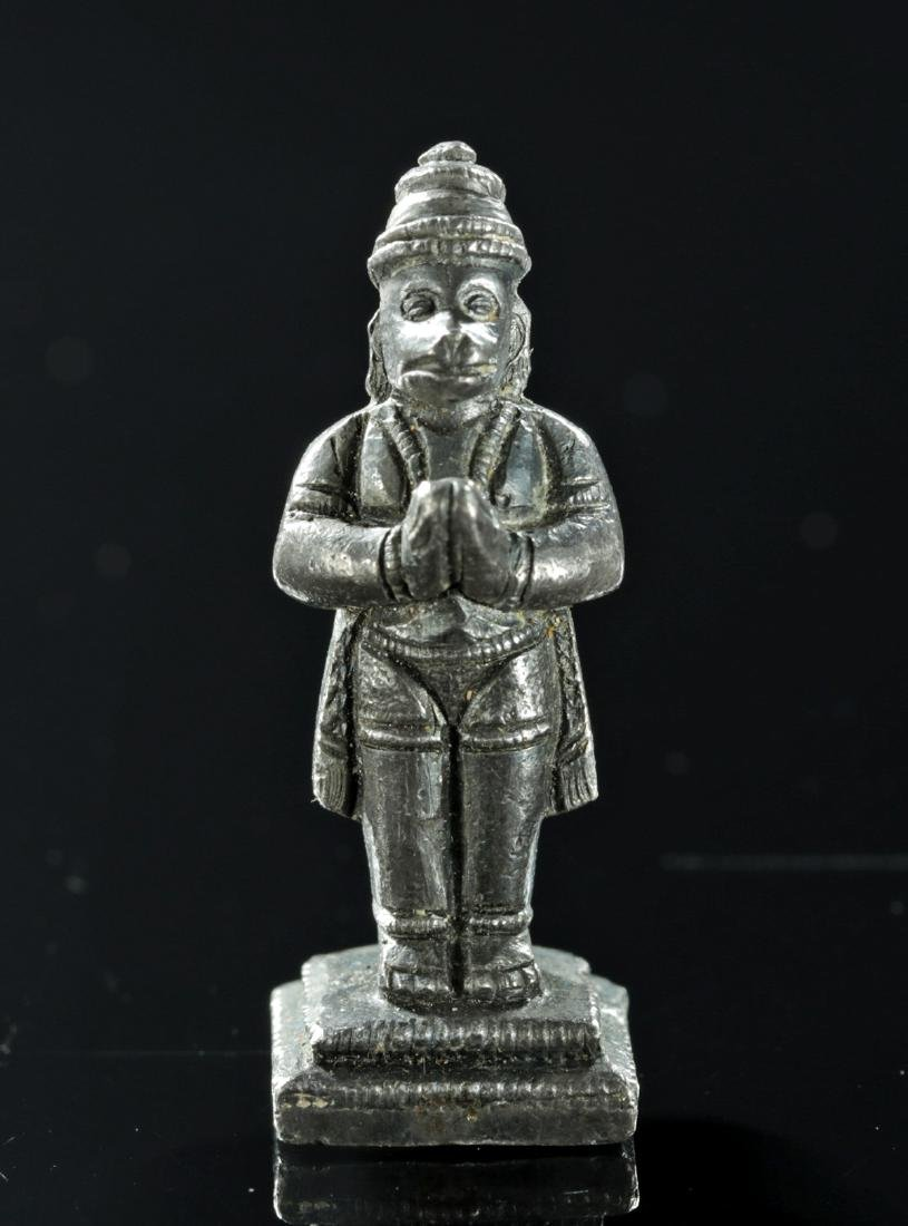 Rare Miniature 19th C. Indian Silver Amulet - Hanuman - 2