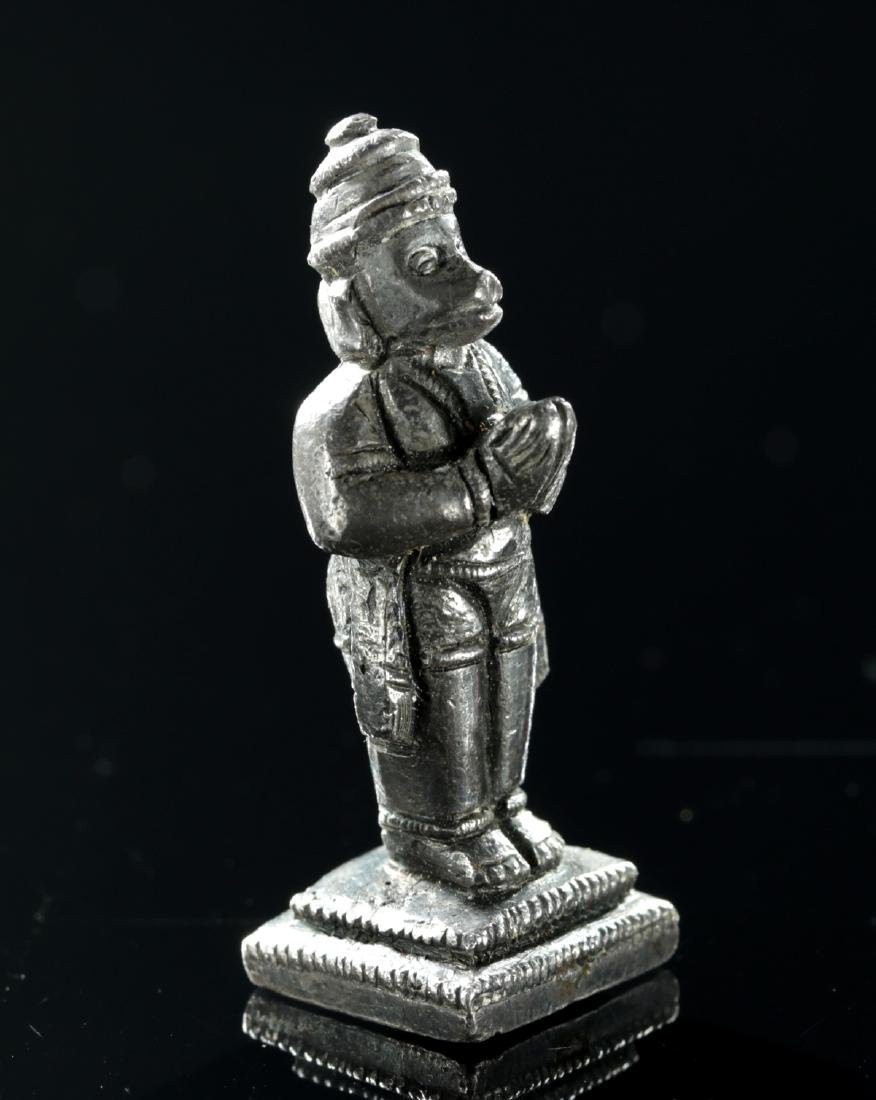 Rare Miniature 19th C. Indian Silver Amulet - Hanuman - 3