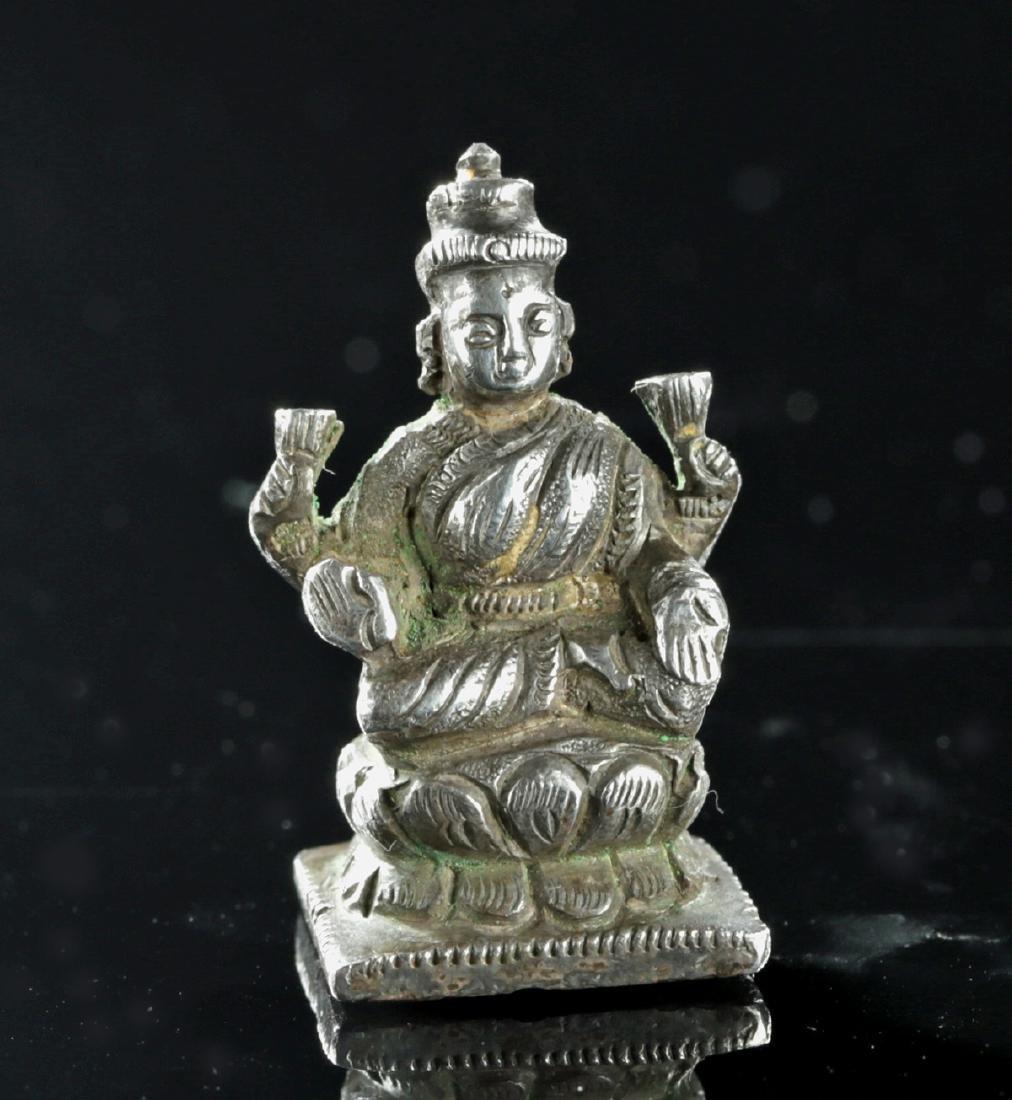19th C. Indian Silver Amulet of Sarasvati