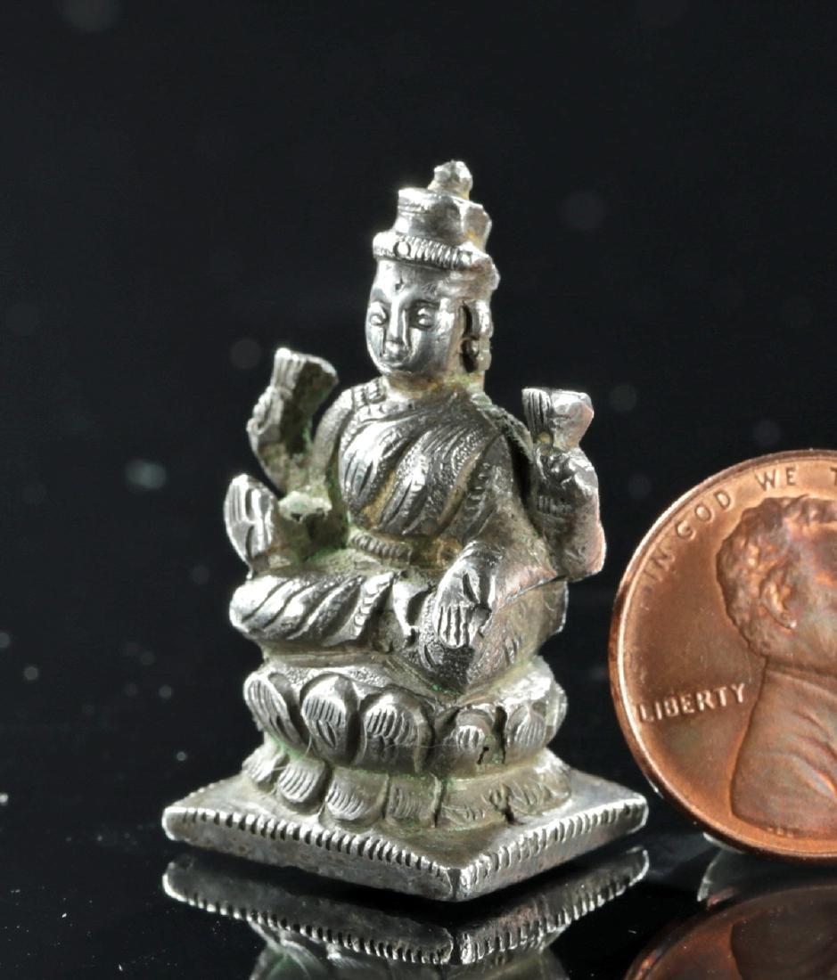 19th C. Indian Silver Amulet of Sarasvati - 2