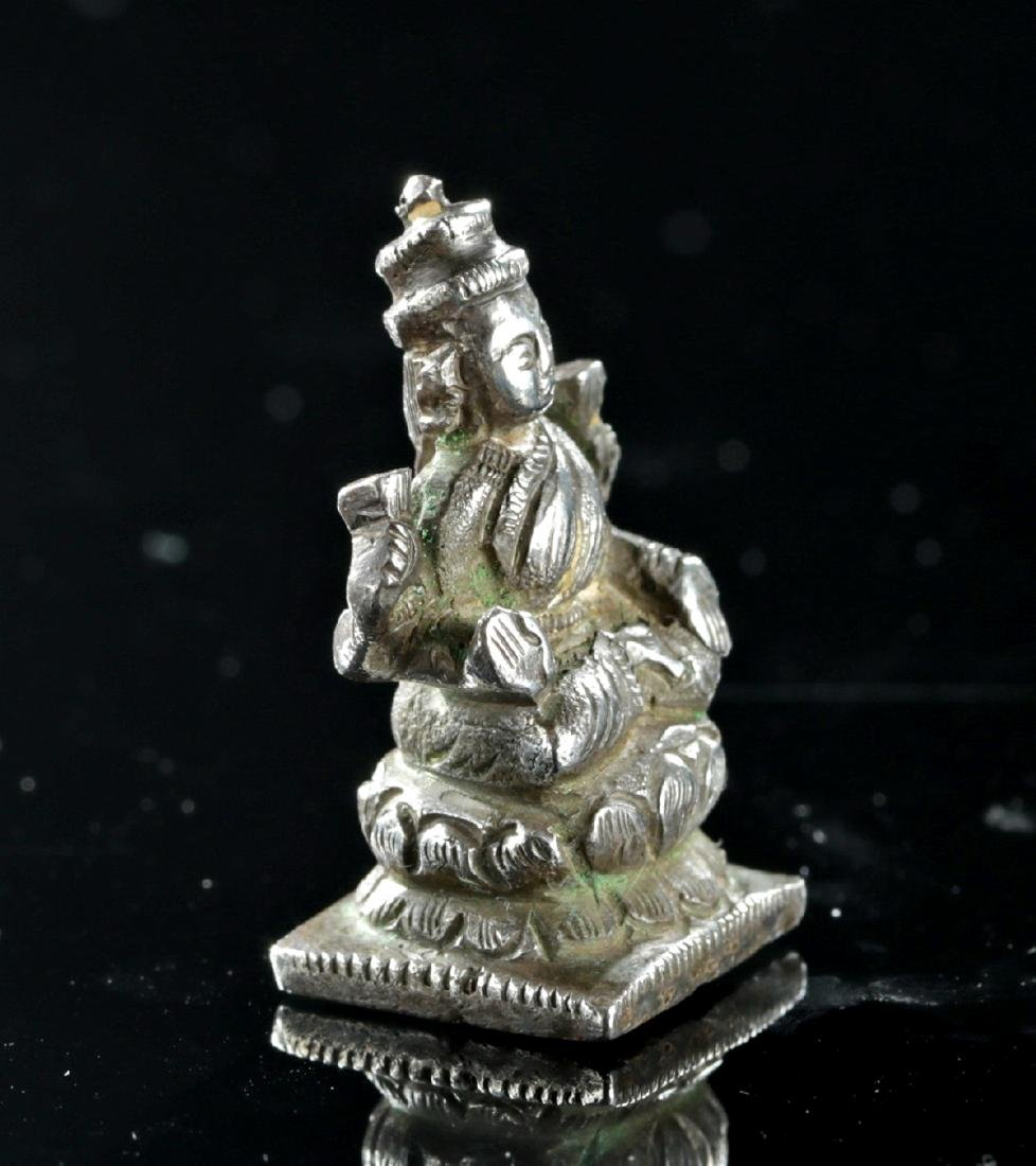19th C. Indian Silver Amulet of Sarasvati - 3