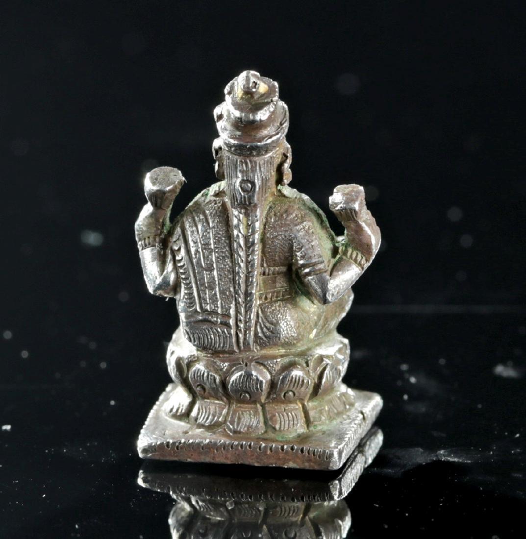 19th C. Indian Silver Amulet of Sarasvati - 4