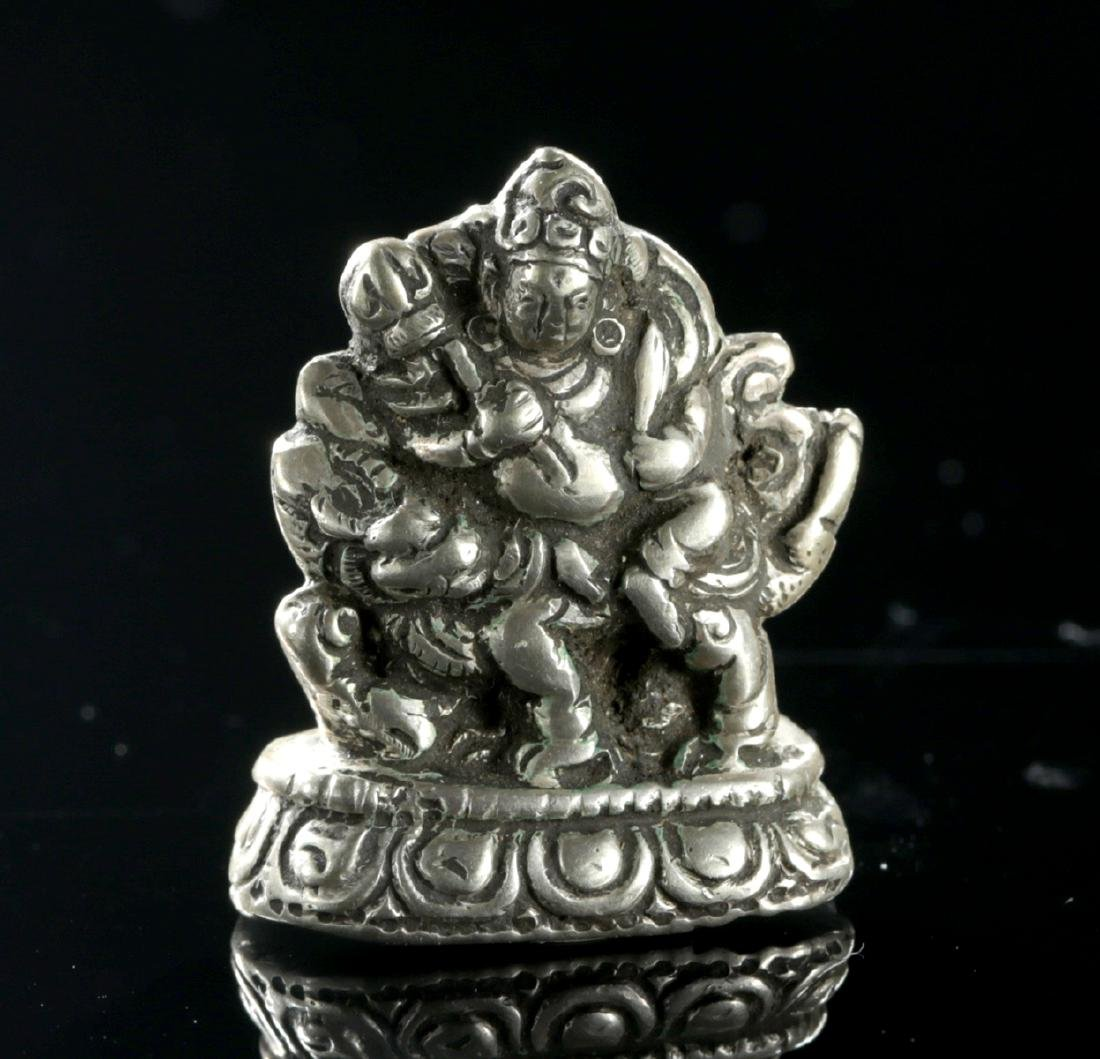 Miniature 19th C. Tibetan Silver Padmasambhava on Lion