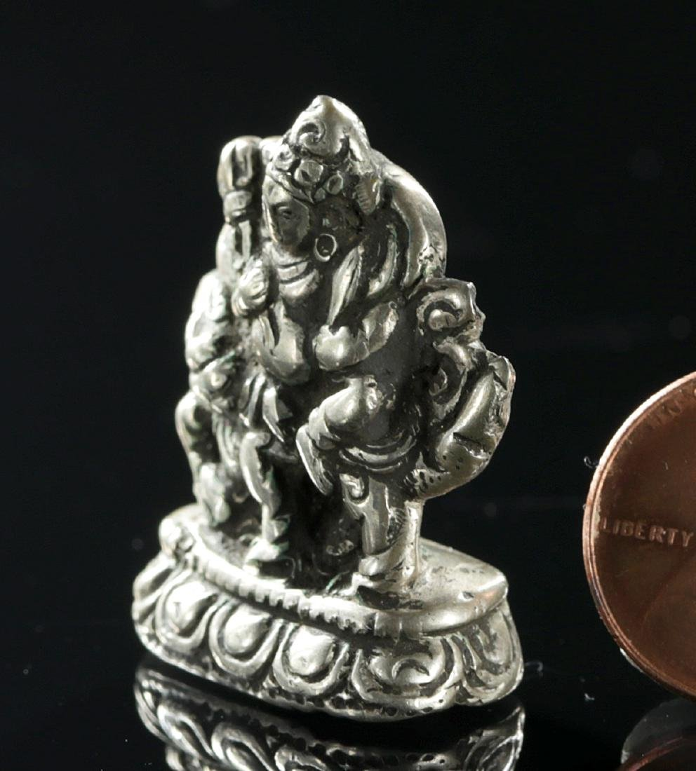 Miniature 19th C. Tibetan Silver Padmasambhava on Lion - 3