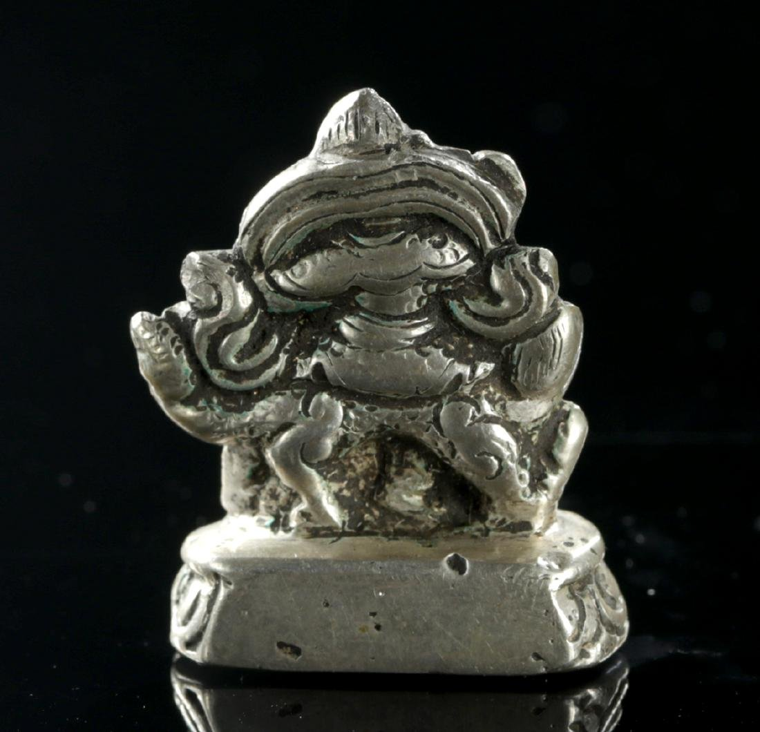 Miniature 19th C. Tibetan Silver Padmasambhava on Lion - 4