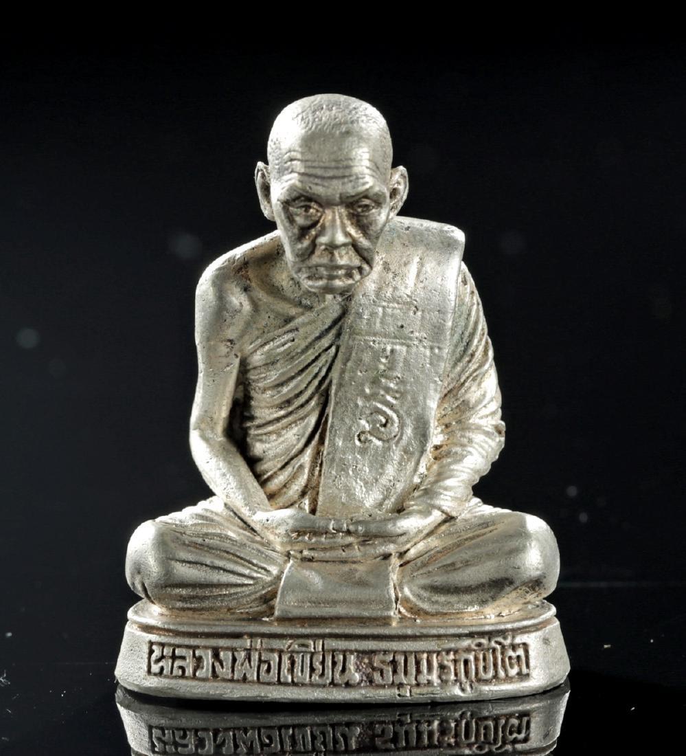20th C. Tibetan Silvered Brass Amulet of Dalai Lama