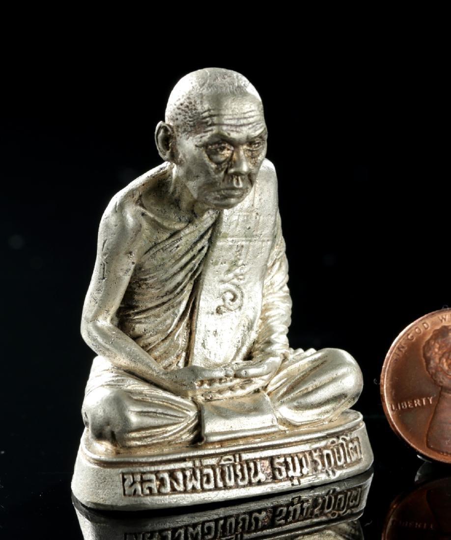 20th C. Tibetan Silvered Brass Amulet of Dalai Lama - 2