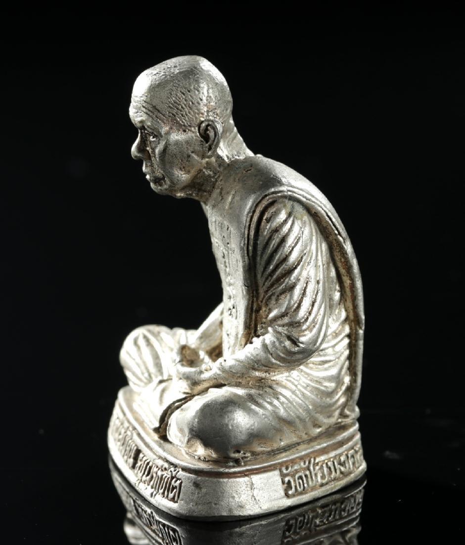 20th C. Tibetan Silvered Brass Amulet of Dalai Lama - 3