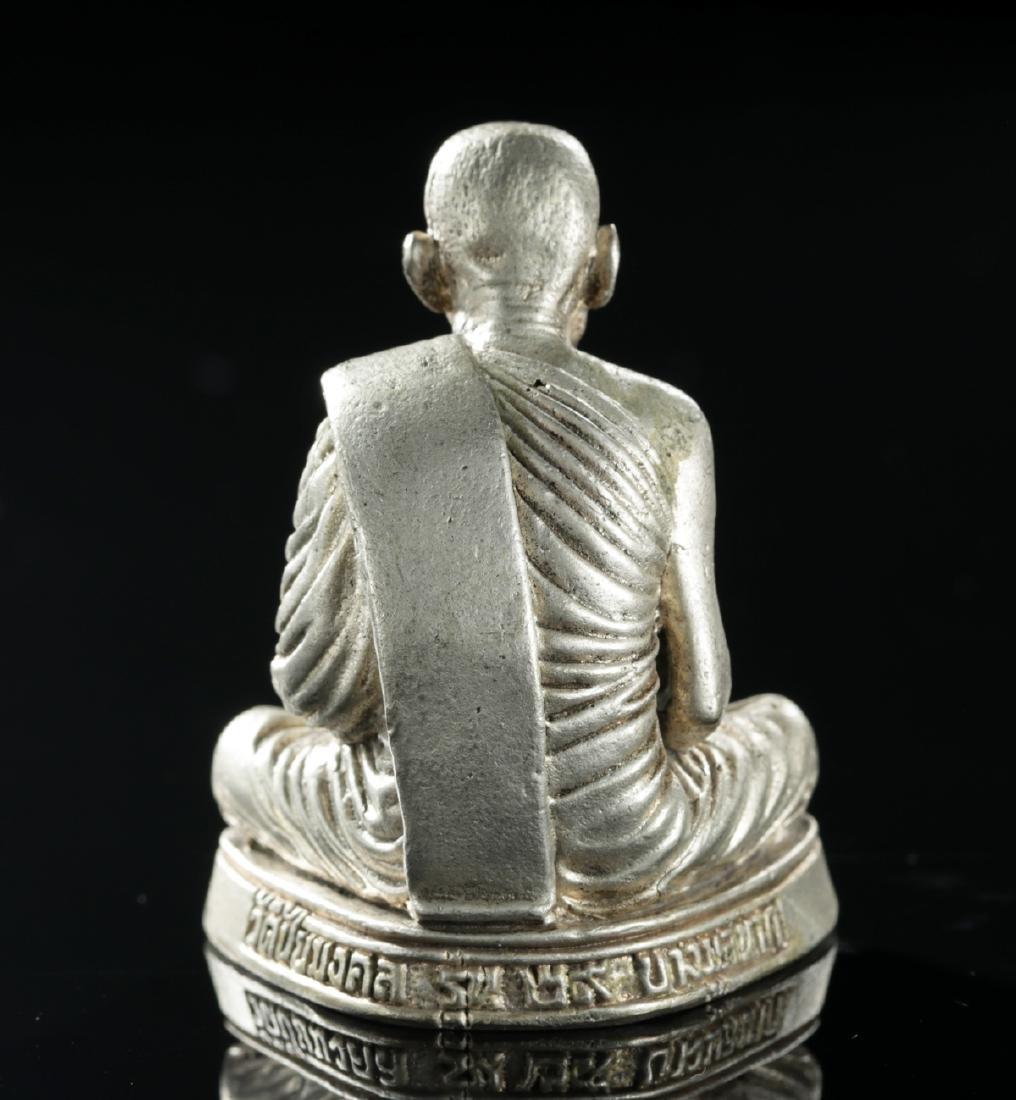 20th C. Tibetan Silvered Brass Amulet of Dalai Lama - 4