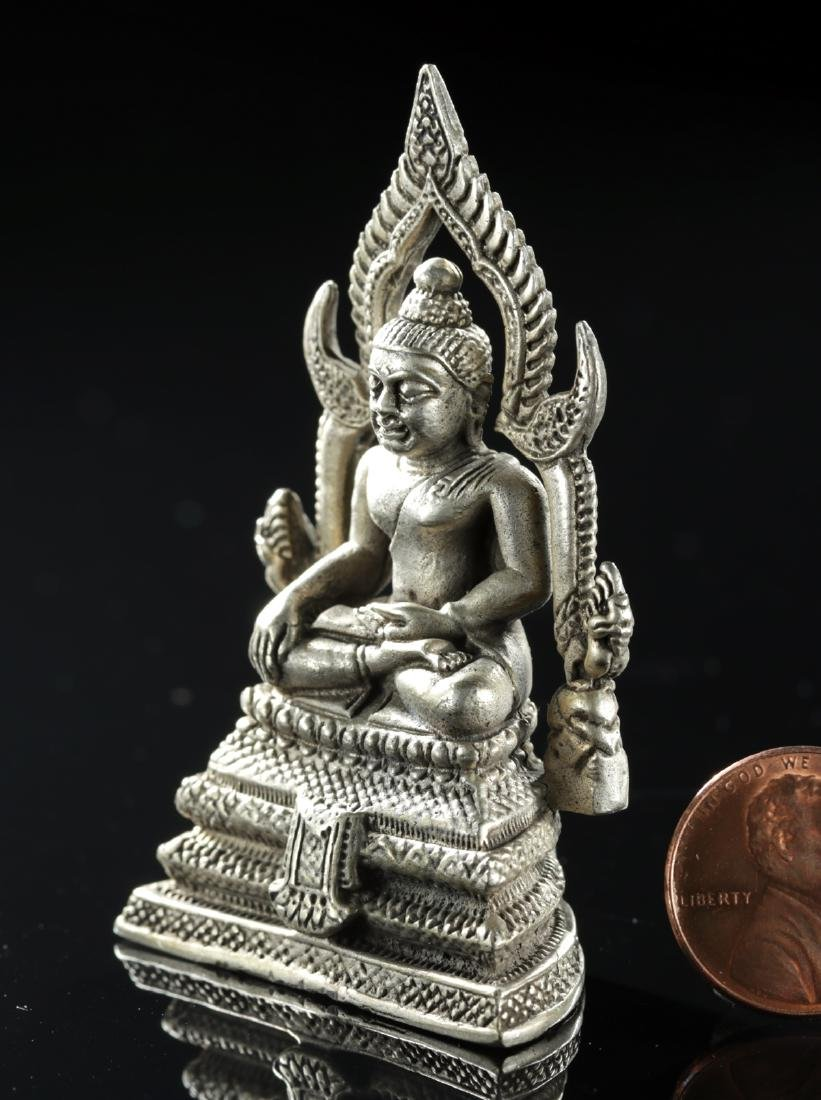 Early 20th C. Thai Silvered Brass Seated Buddha - 2