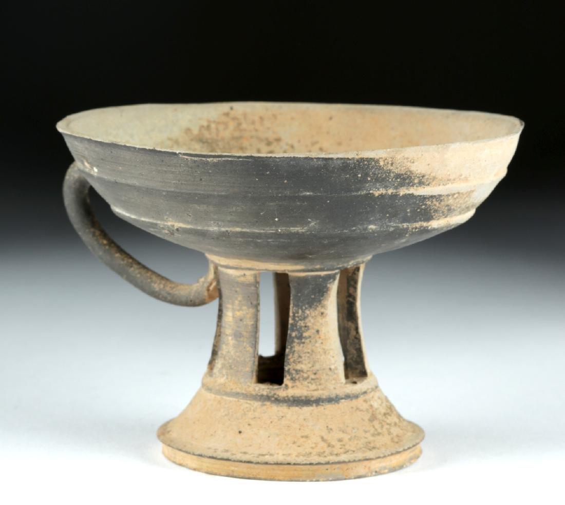 6th C. Korean Silla Dynasty Blackware Footed Dish