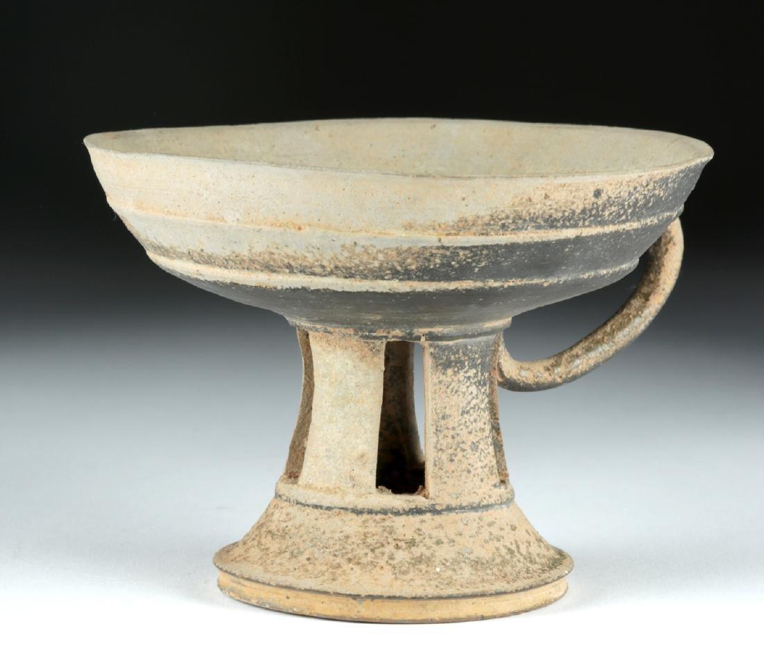 6th C. Korean Silla Dynasty Blackware Footed Dish - 2
